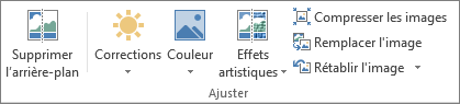 Options d'image dans le groupe Ajuster