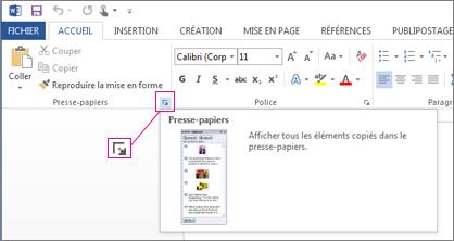 Ouverture du Presse-papiers Office dans Word2013