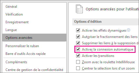 Activez ou désactivez l'option Activer la connexion automatique pour activer ou désactiver la connexion automatique pour tous les diagrammes et dessins.