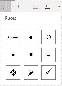 Bouton Liste à puces sélectionné dans le menu Accueil du ruban de OneNote pour Windows10.