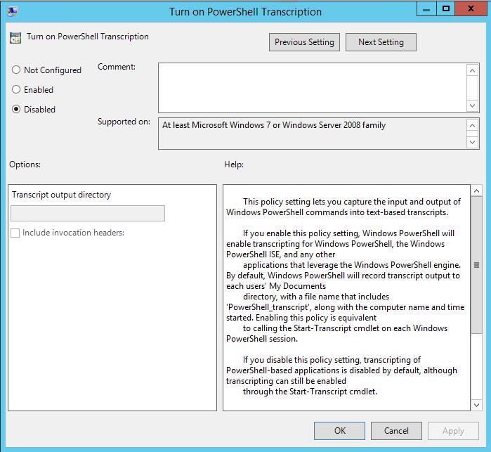 Désactivation de Transcription de PowerShell