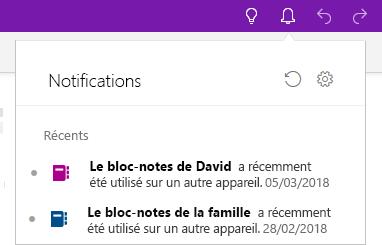 Volet Notifications montrant deux blocs-notes précédemment ouverts sur un autre appareil.