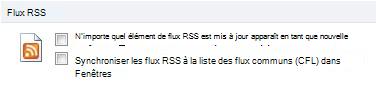 Case à cocher Synchroniser les flux RSS avec la liste des flux communs