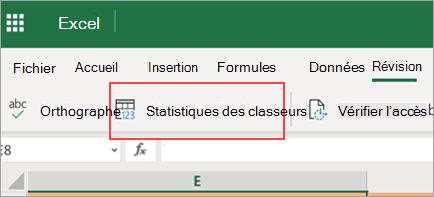 Option de menu statistiques du classeur