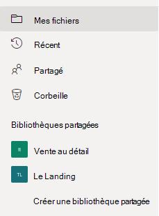 Affiche le lien « Créer une bibliothèque partagée » sous la section « Bibliothèques partagées ».