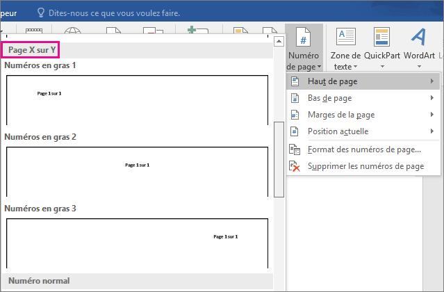 Dans la galerie de styles de numéros de page, faites défiler vers le bas pour rechercher les styles «Page X sur Y».