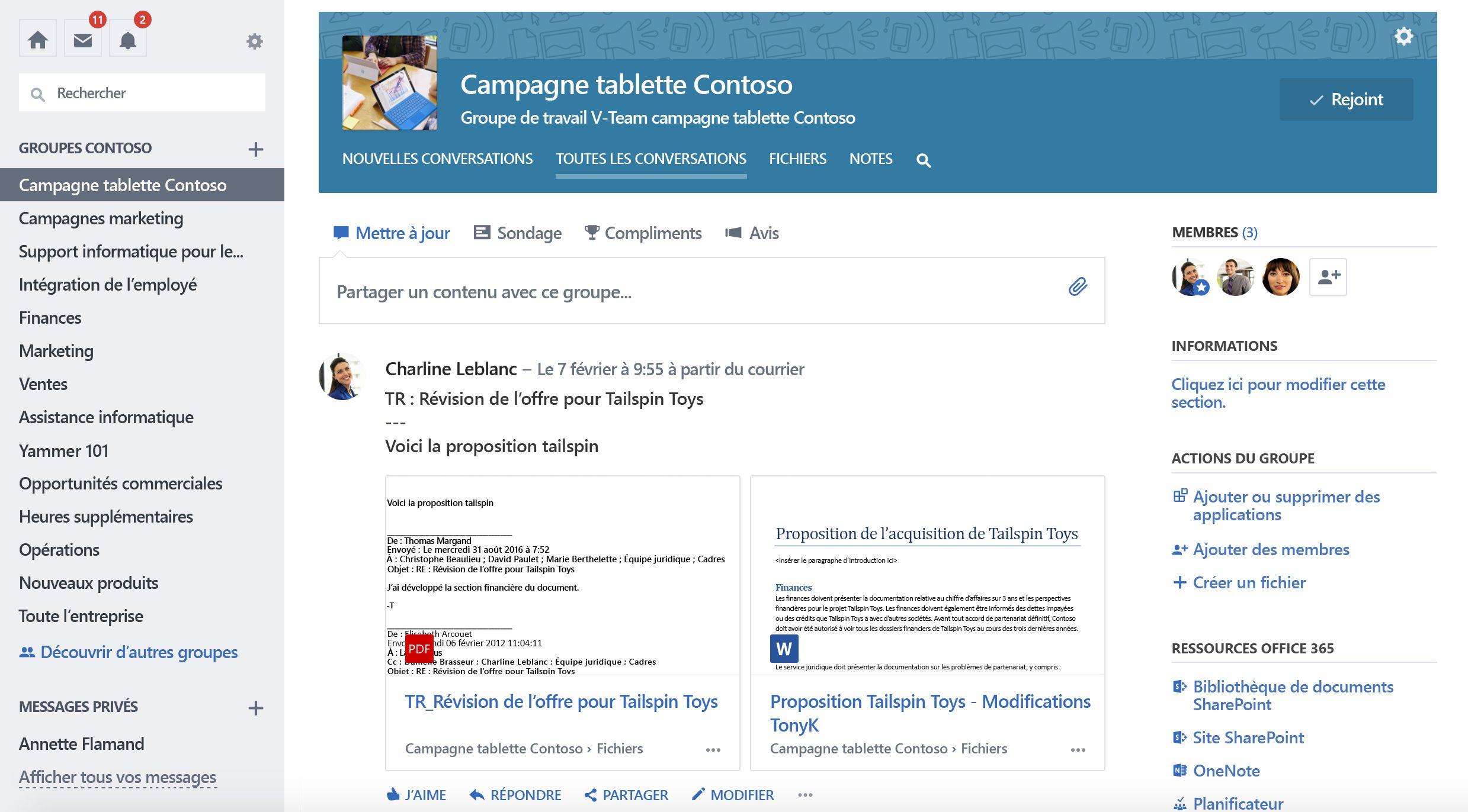 Capture d'écran d'Office 365 connecté conversations de groupe Yammer