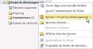 Commande de fermeture d'un fichier de données Outlook (.pst)