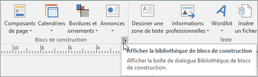 Blocs de construction dans Publisher