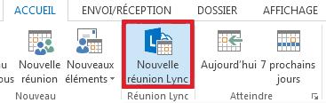 Cliquez sur Nouvelle réunion Lync.