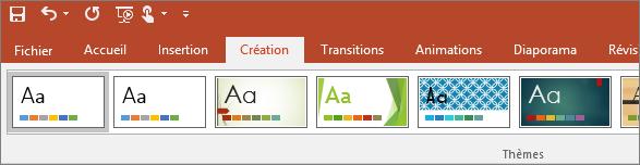 Onglet Création sur le ruban dans PowerPoint