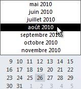 Navigateur de dates avec sélecteur de mois