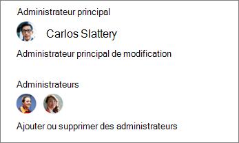 Modifier l'administrateur principal ou ajouter ou supprimer d'autres administrateurs dans le volet de détails