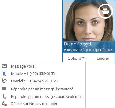 Capture d'écran d'une alerte d'appel vidéo avec l'image d'un contact dans l'angle supérieur