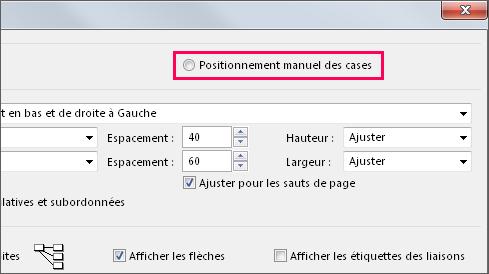 Cliquez sur Positionnement manuel des cases pour repositionner manuellement une tâche.