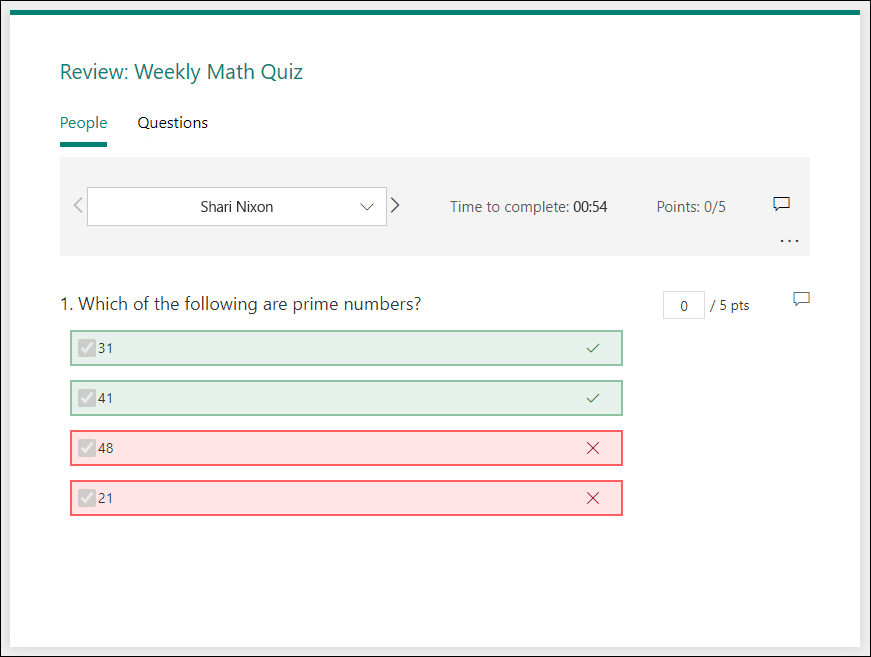 Page de réponses de révision