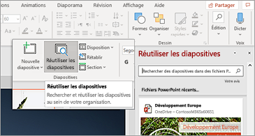 Bouton réutiliser les diapositives et volet ouvert dans PowerPoint