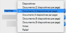 Dans la zone Imprimer, sélectionnez une option du document