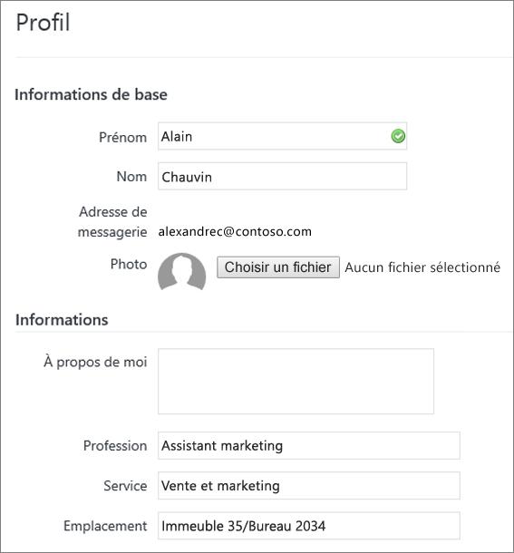 Capture d'écran de la modification du profil d'un utilisateur Yammer