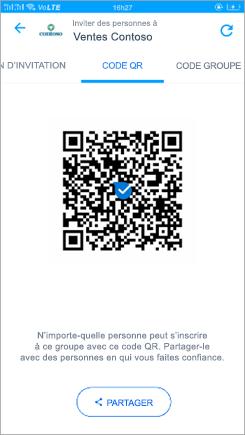 Capture d'écran de la page de code QR dans Kaizala