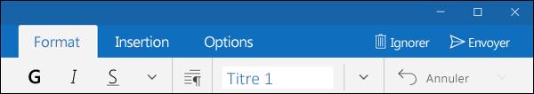 Onglet Format de l'application Courrier Outlook