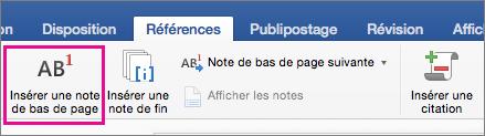 Sous l'onglet Références, le bouton Note de bas de page est mis en évidence