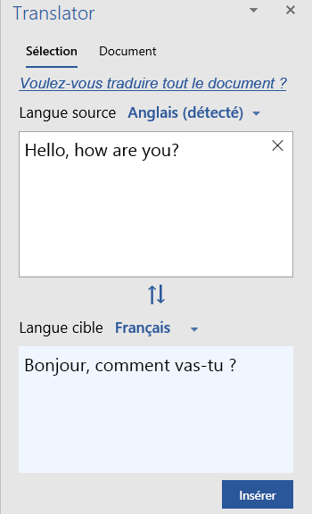 Traduction de sélection montrant