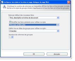 Configurer la disposition du lien