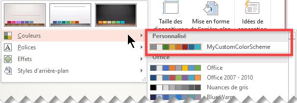 Après avoir défini un modèle de couleurs personnalisé, celui-ci s'affiche dans le menu déroulant Couleurs