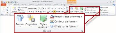 Groupe Dessin disponible dans l'onglet Accueil du ruban de PowerPoint2010
