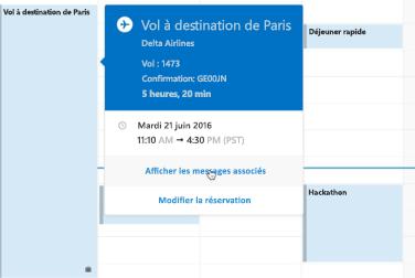 Affichage de la carte de voyage dans le Calendrier Outlook