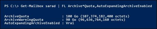 Propriétés ArchiveQuota et ArchiveWarningQuota sont ignorées après l'activation de développement automatique d'archivage