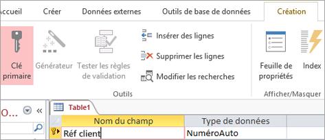 Sélection d'un champ de clé primaire dans une nouvelle table Access