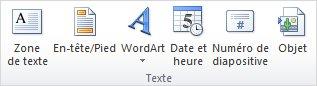 Zone de texte sous l'onglet Insertion dans le ruban PowerPoint 2010