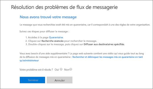 Capture d'écran montrant un exemple de résultats de l'utilitaire de dépannage du flux de courrier