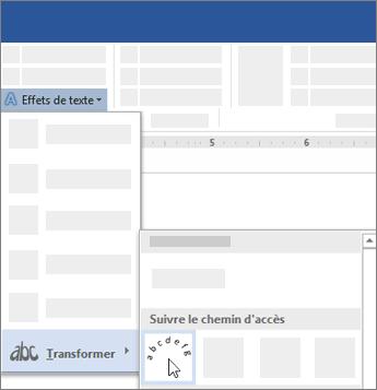 Option pour transformer un texte pour qu'il suive un chemin