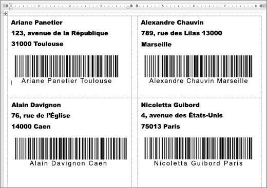 Capture d'étiquettes avec adresse et codes-barres