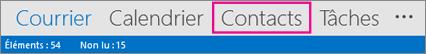 Barre de navigation Outlook - Contacts