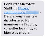 Les membres de votre équipe obtiennent un lien leur permettant de télécharger l'application mobile Microsoft StaffHub.