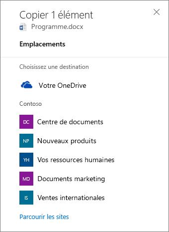 Capture d'écran de la sélection d'une destination lors de la copie de fichiers de OneDrive Entreprise vers un site SharePoint.