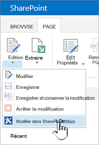 Sélection de SharePoint Designer dans le menu Edition