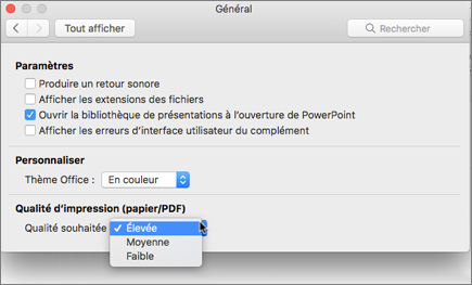 Définir la qualité d'impression du fichier PDF à haute, moyenne ou faible