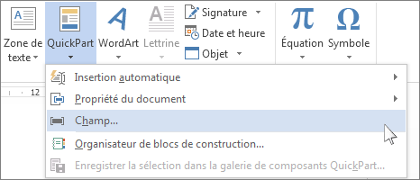 Option Insérer un champ dans le menu QuickPart