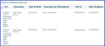 Le composant WebPart Tâches professionnelles regroupe toutes les tâches d'un utilisateur.