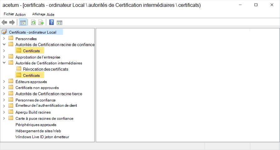 Hiérarchie de certificat affichée sur ordinateur Local