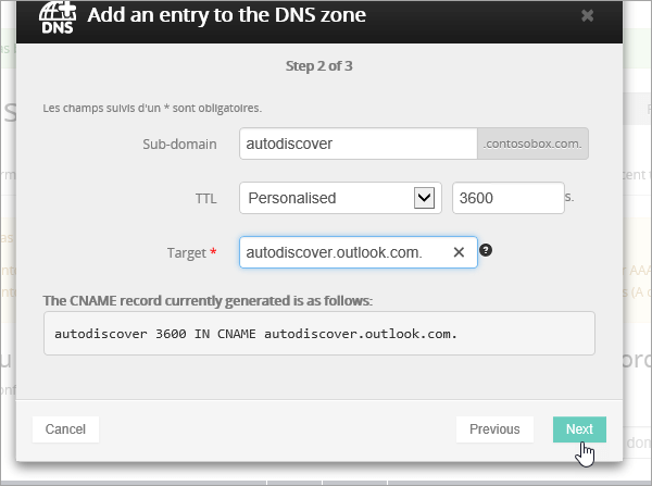 Enregistrement CNAME OVH sélectionnez Next_C3_20176920643