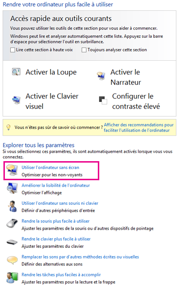 Options d'ergonomie dans Windows