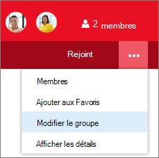 Modifier le groupe