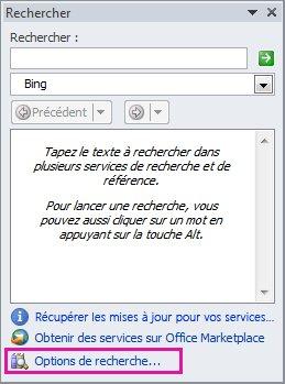 Capture d'écran du volet Office Rechercher avec le lien Options de recherche situé en bas du volet mis en évidence
