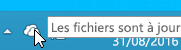 Capture d'écran montrant l'icône OneDrive blanche dans Windows8.1.